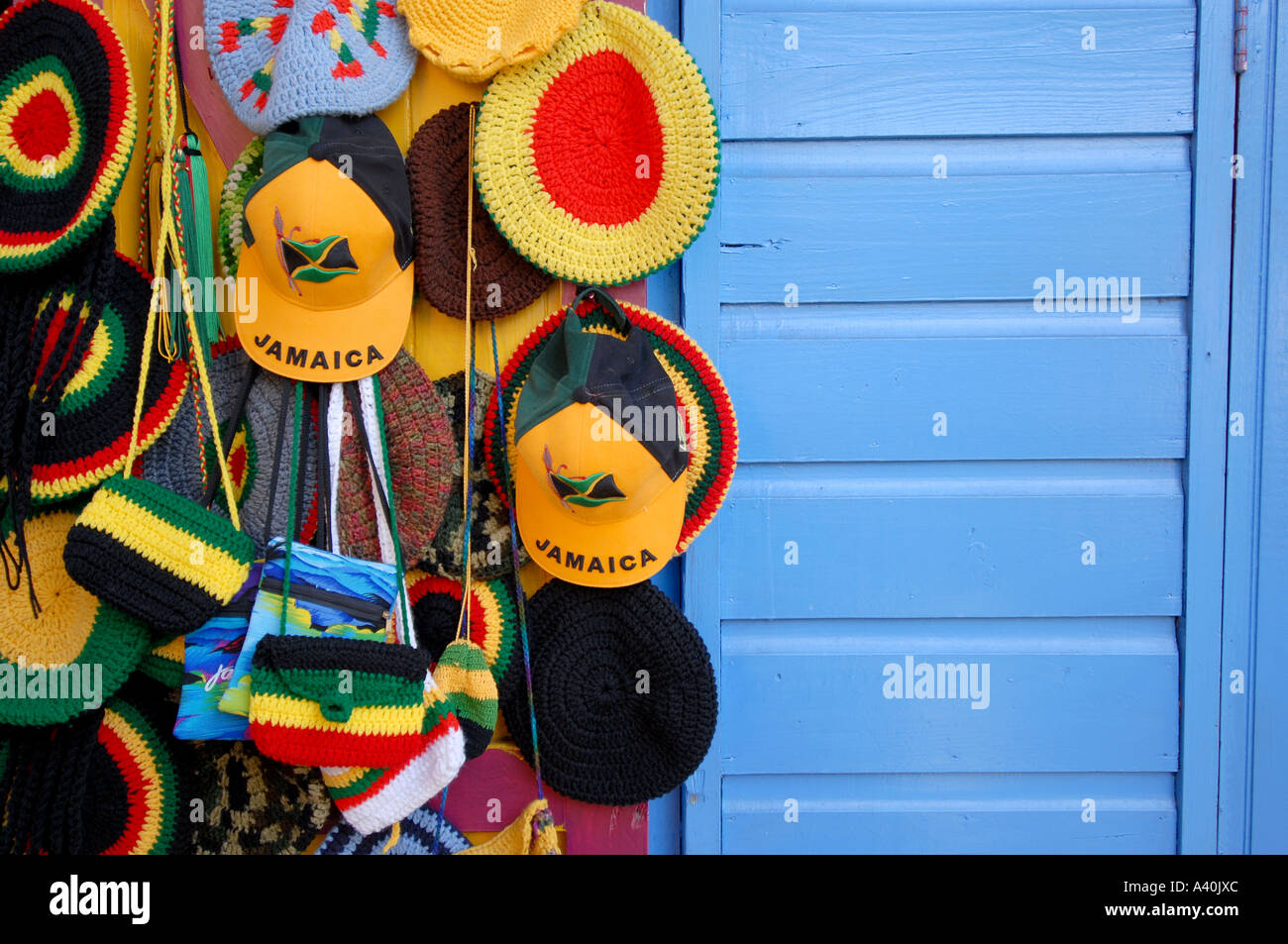 Hats for sale craft market montego bay jamaica stock photo for Jamaican arts and crafts for sale