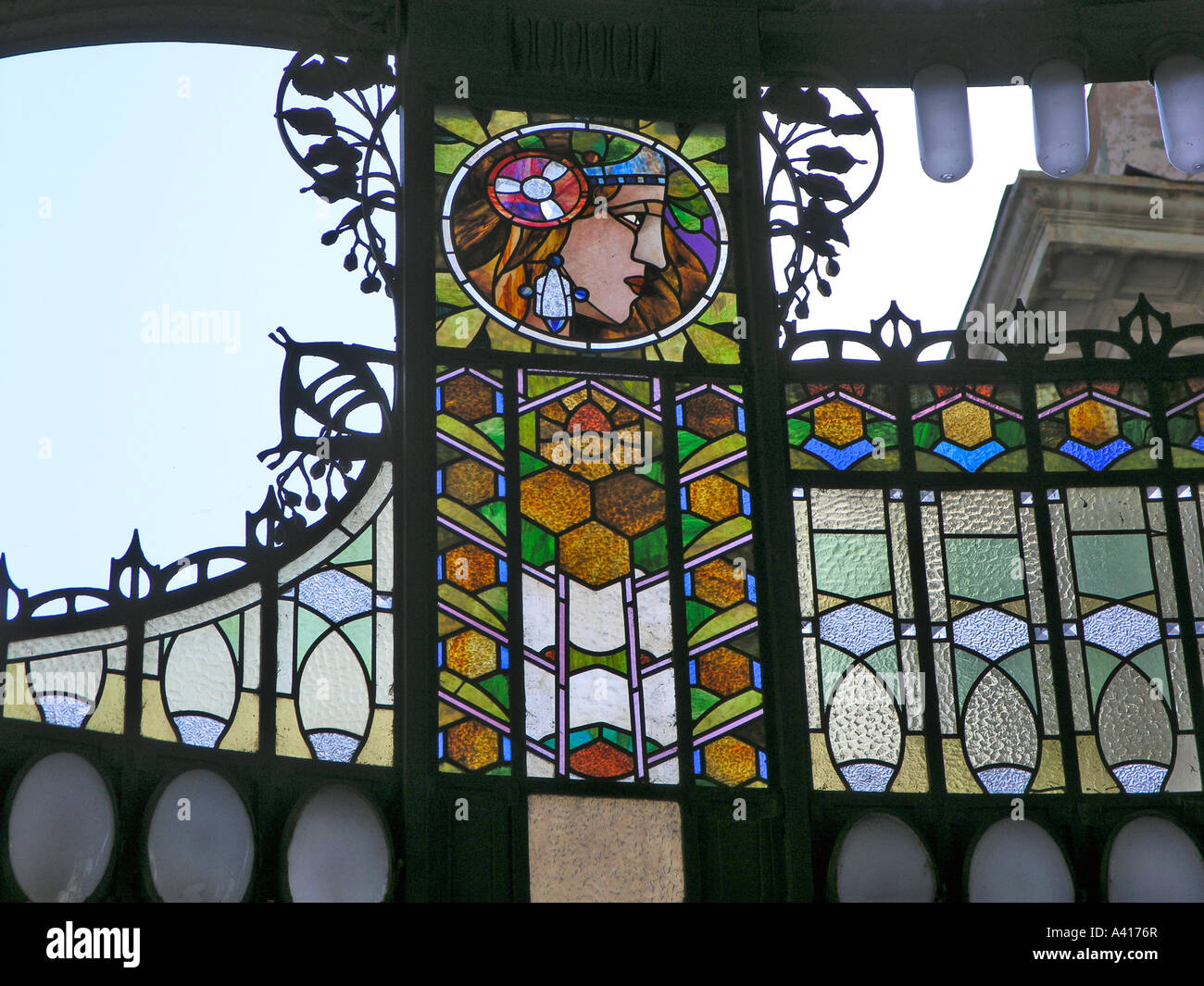 Stained Glass Art Nouveau Screen Detail Over The Main Entrance Prague Old  Town Municipal House Praha Czech Republic Europe EU