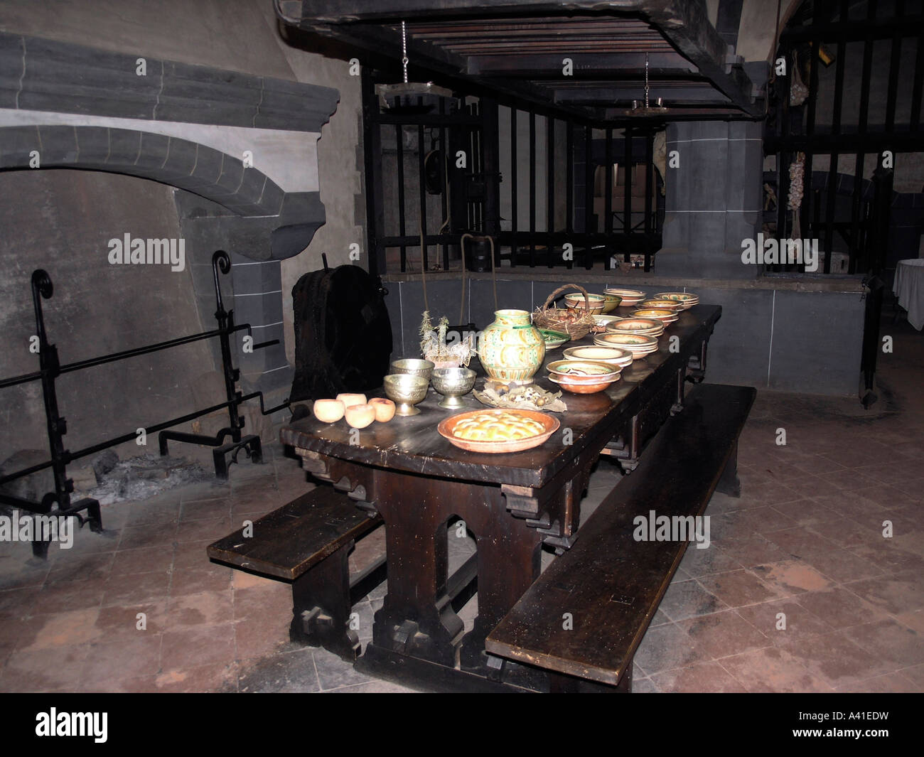 Stock Photo   Table Set In A Medieval Castle By The Fireplace