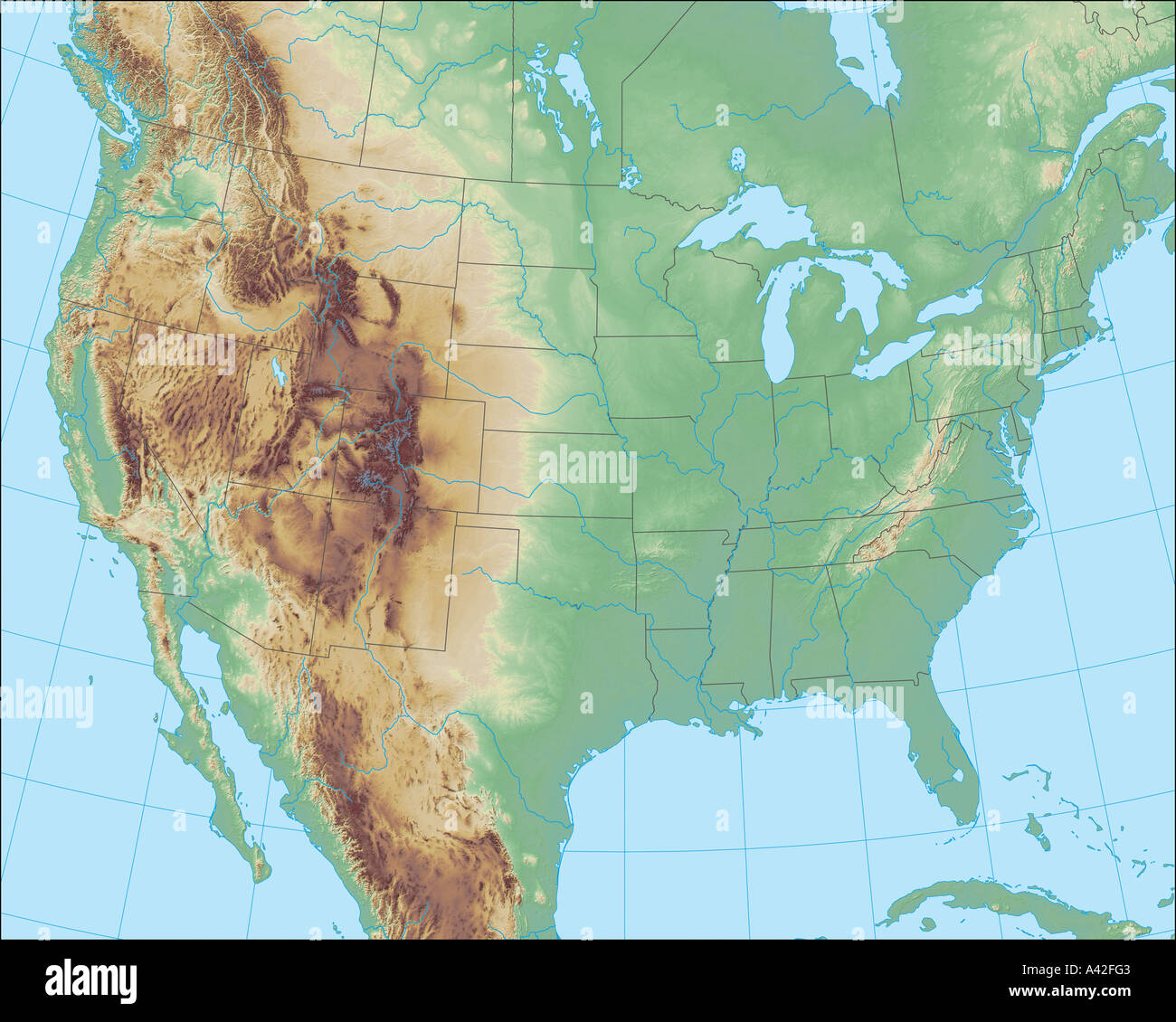 Beautiful But Realistic Terrain Map Of North America Stock Photo