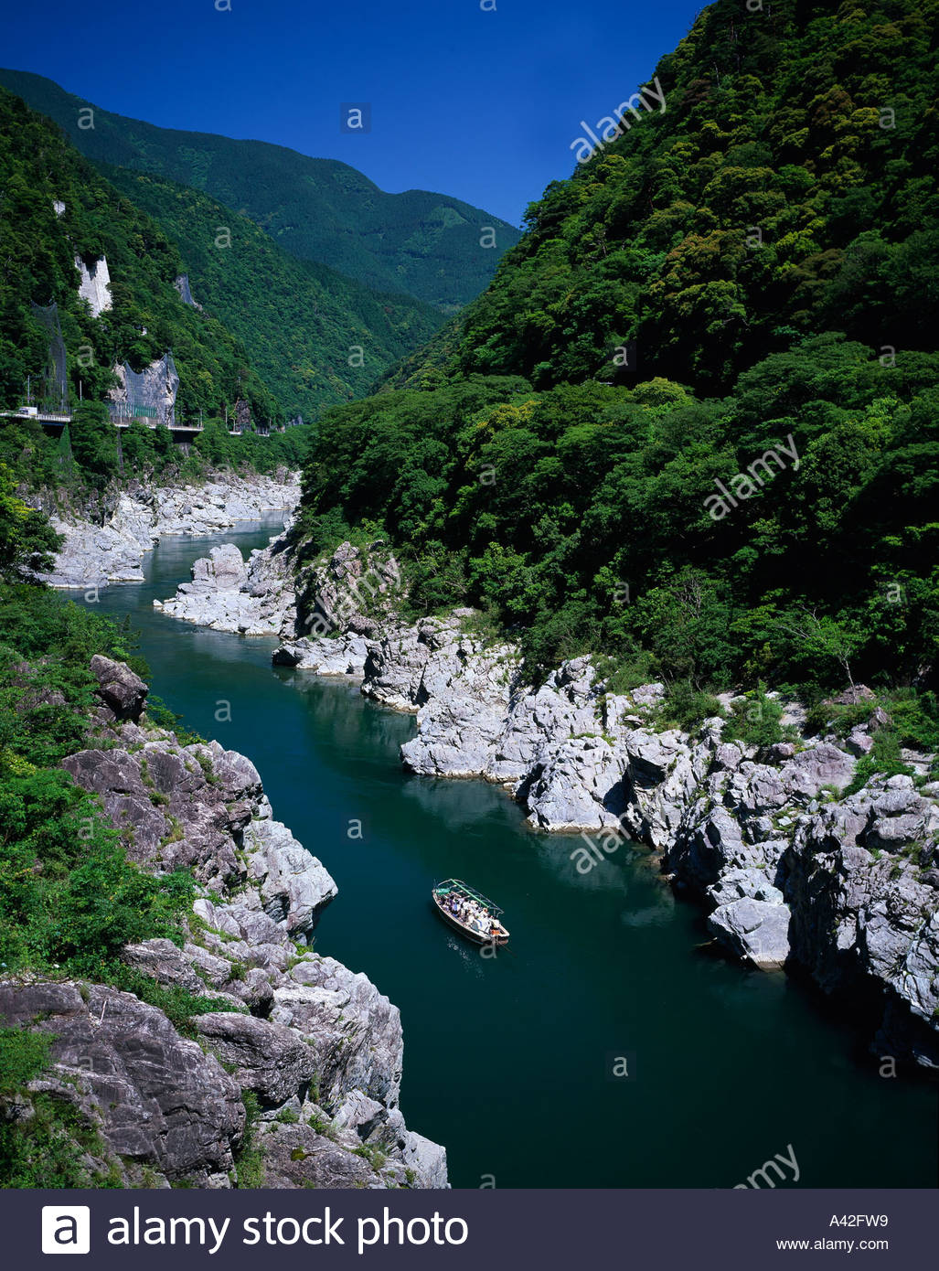 Tokushima Japan  city photos : Stock Photo Oboke Tokushima Japan Sky Mountain Tree Rock River Ship ...