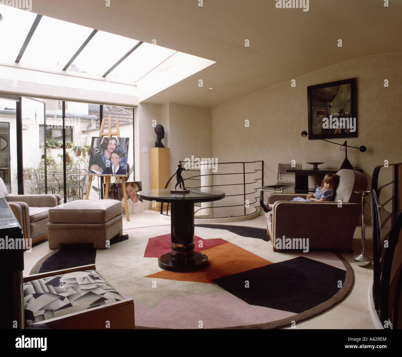 Art Deco Rug And Furniture In Modern Livingroom In Loft Conversion In Stock P