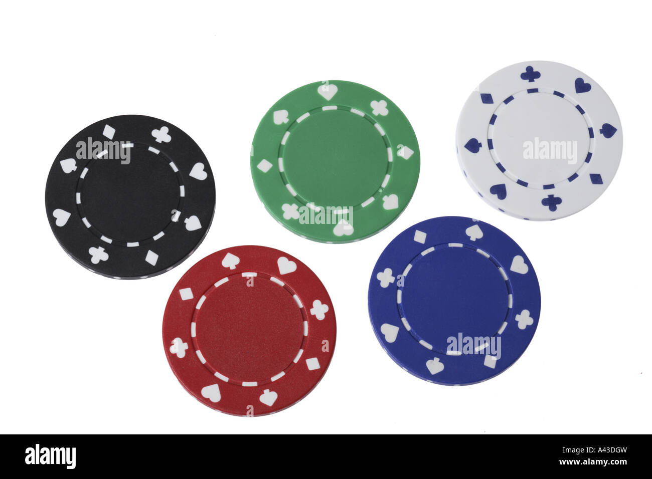 five poker chips cut out on white background stock photo. Black Bedroom Furniture Sets. Home Design Ideas