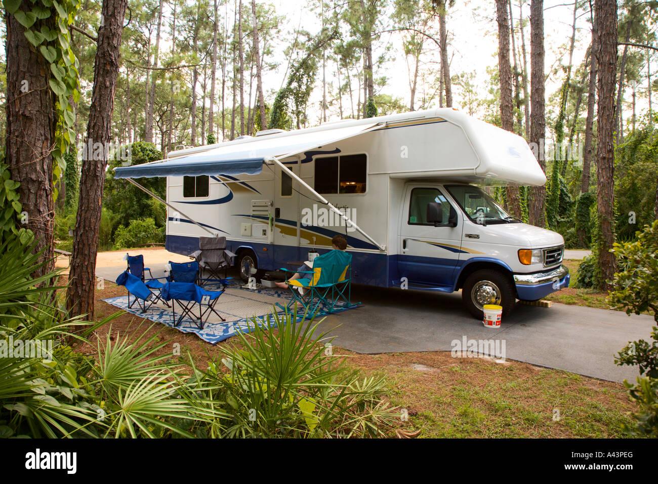 Motorhome At Campsite In Fort Wilderness Resort At Walt