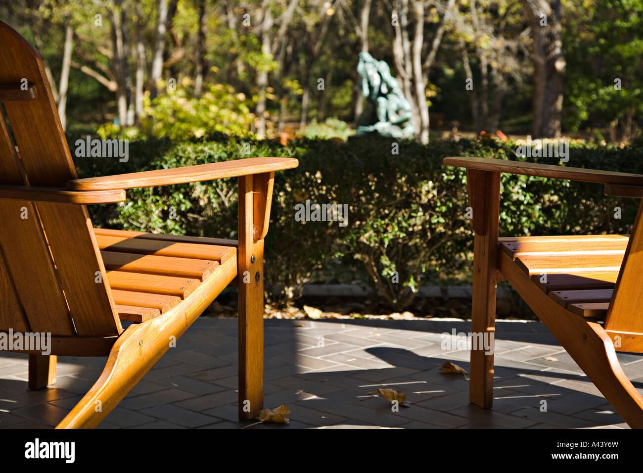 Superb TEXAS Austin Wooden Adirondack Chairs On Patio Overlook Umlauf Sculpture  Garden