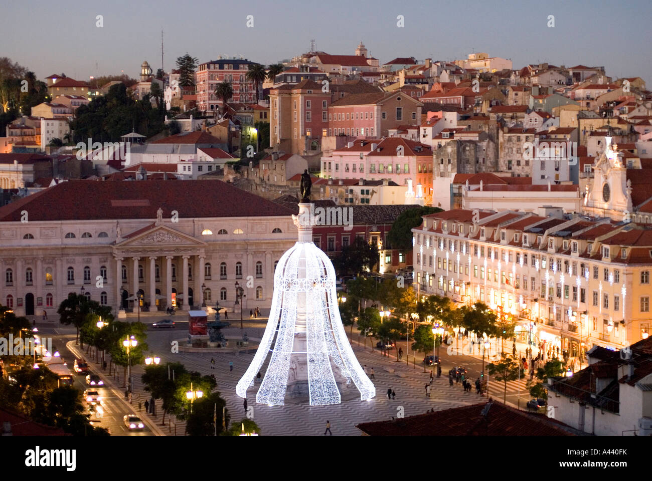 main square in lisbon praca rossio illuminated with christmas lights stock photo royalty free. Black Bedroom Furniture Sets. Home Design Ideas
