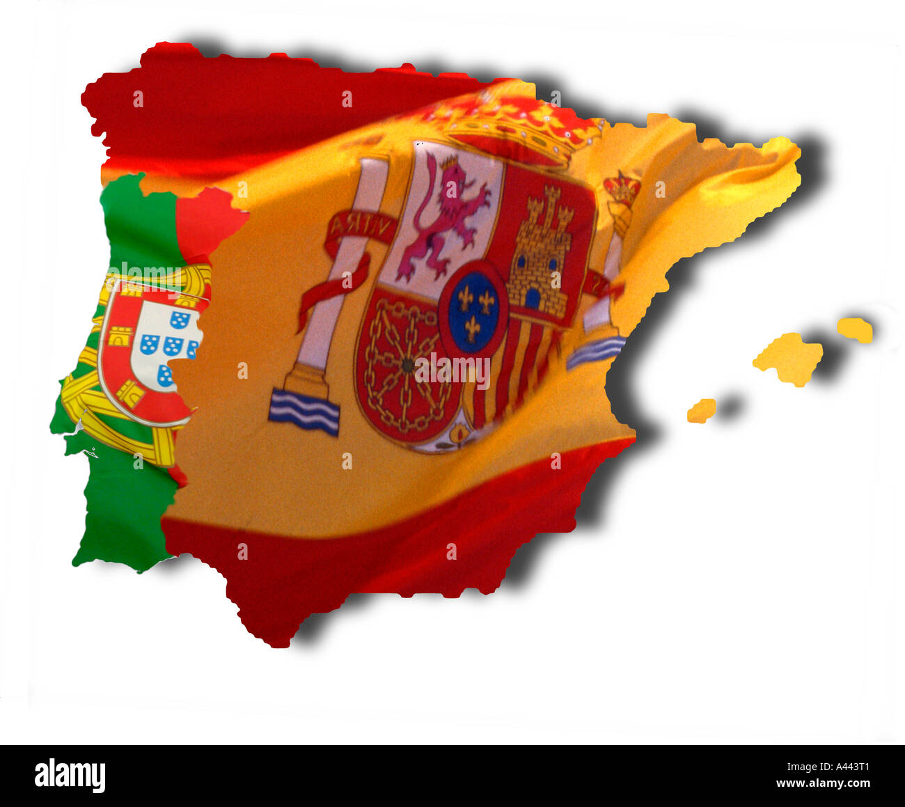 Spanish And Portuguese Flags Overlaid On Map Of Iberian Peninsula - Portugal map iberian peninsula
