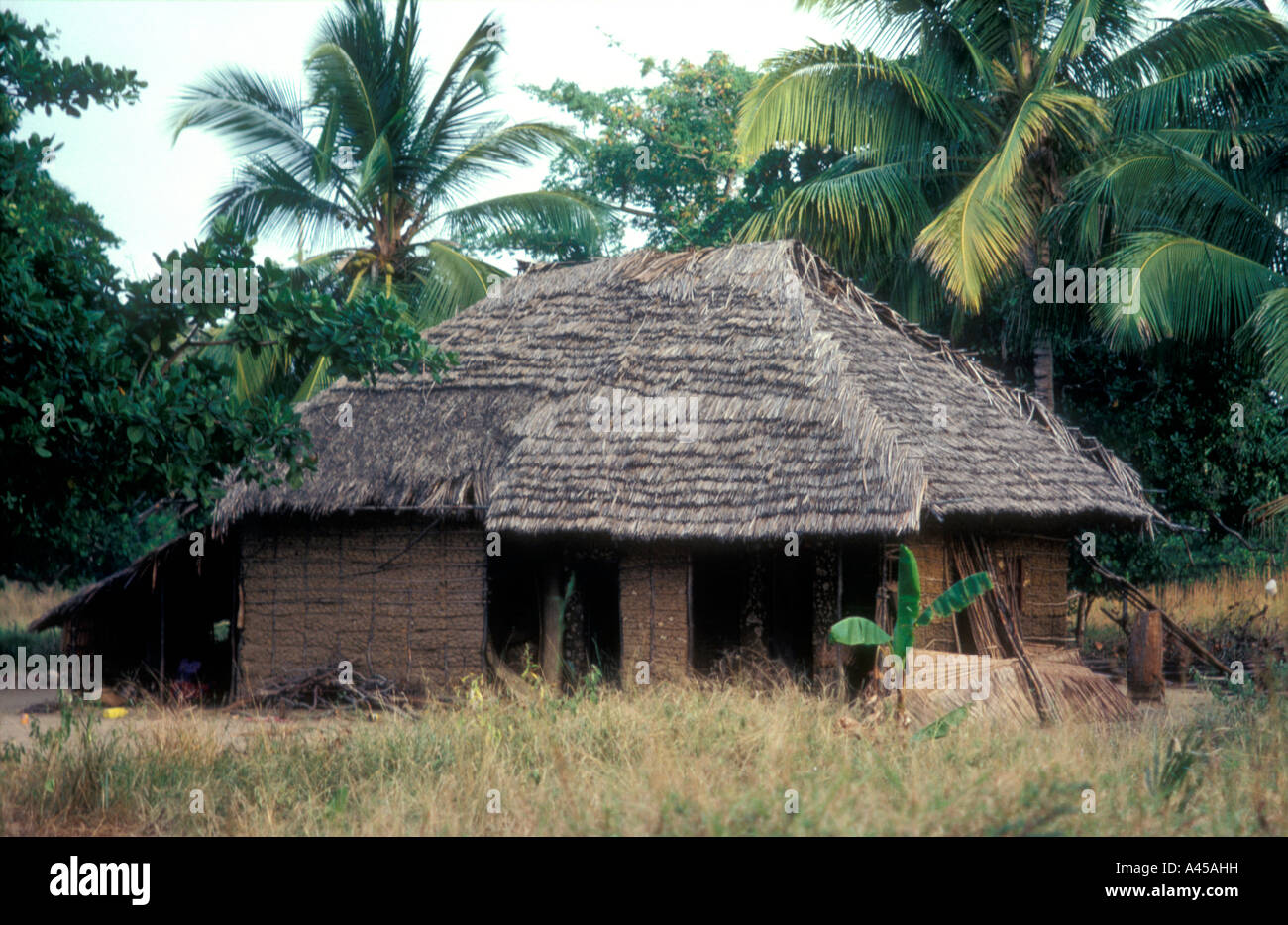 Traditional Swahili House With Roof Of Palm Thatch And