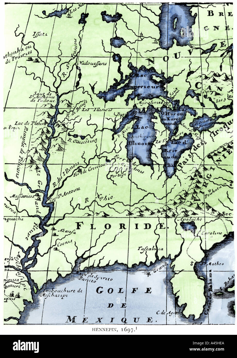 French Missionary Louis Hennepin Map Of The Mississippi River - Map of the mississippi