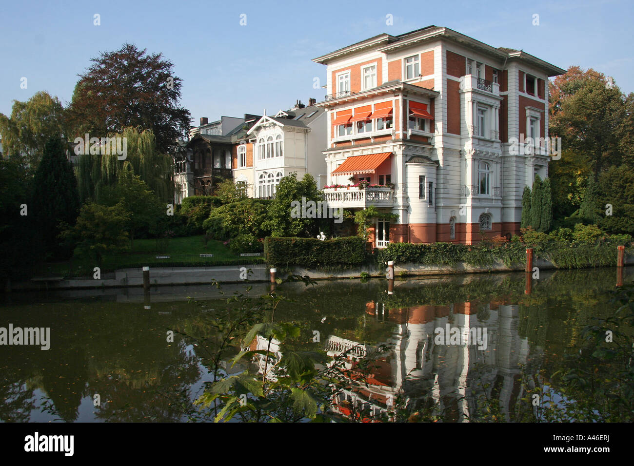 Stock photo hamburg germany riverside new - A Riverside Villa In Hamburg Germany