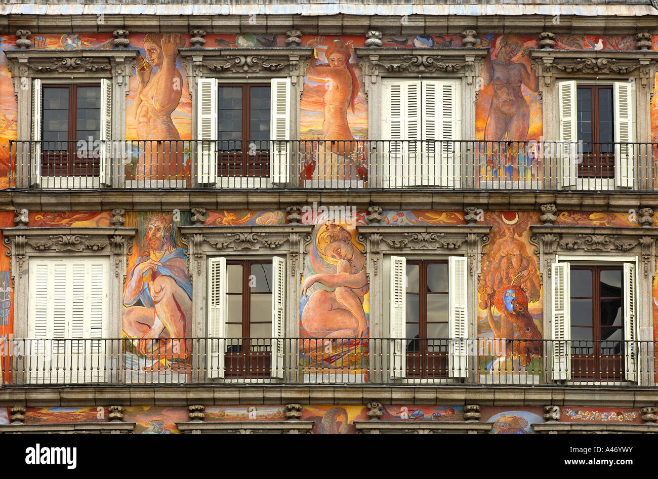 Mural painting casa de la panader a plaza mayor madrid spain stock photo royalty free image - Casa de la panaderia madrid ...