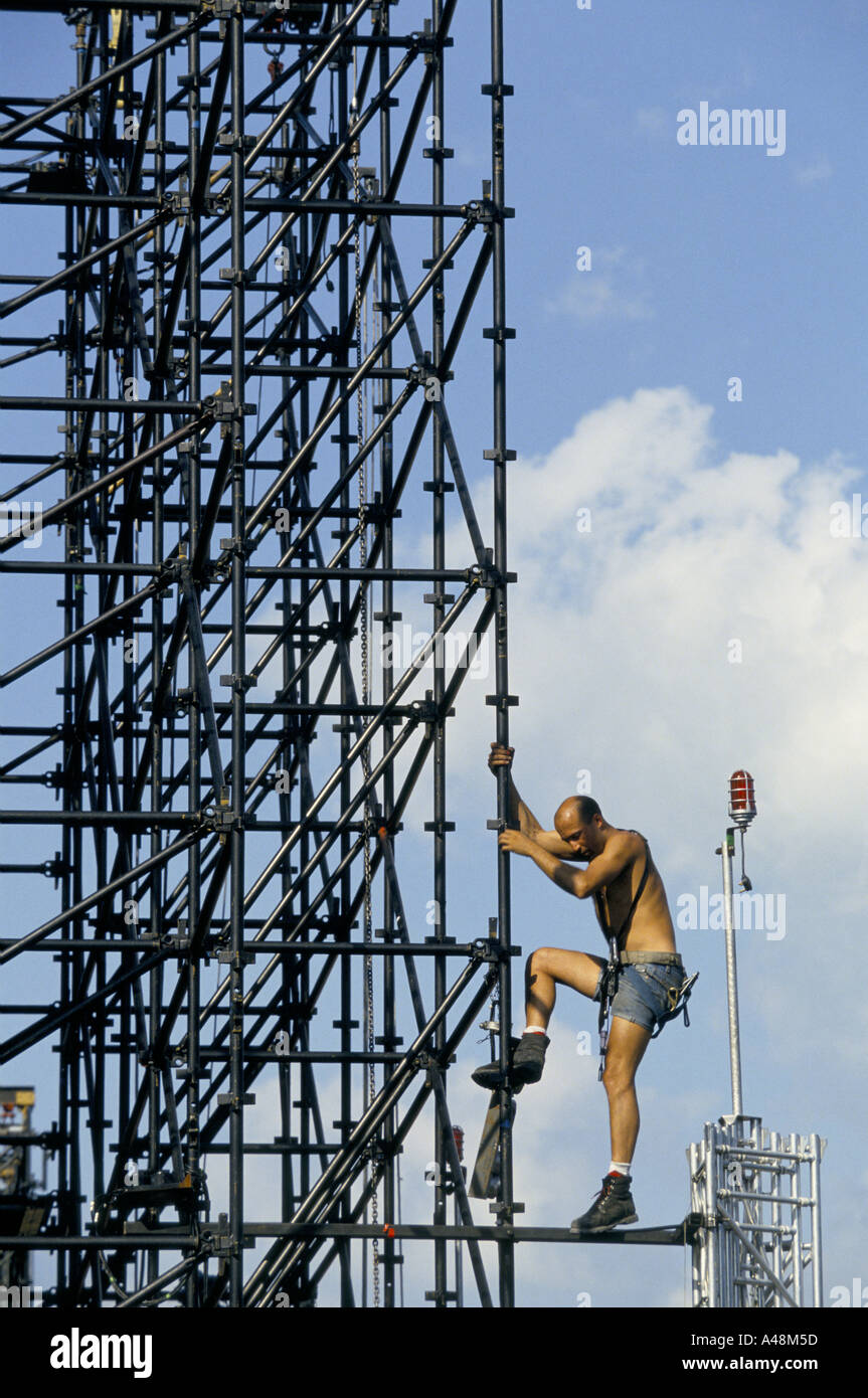 Scaffolding Set Up : A rigger working on scaffolding setting up the stage for