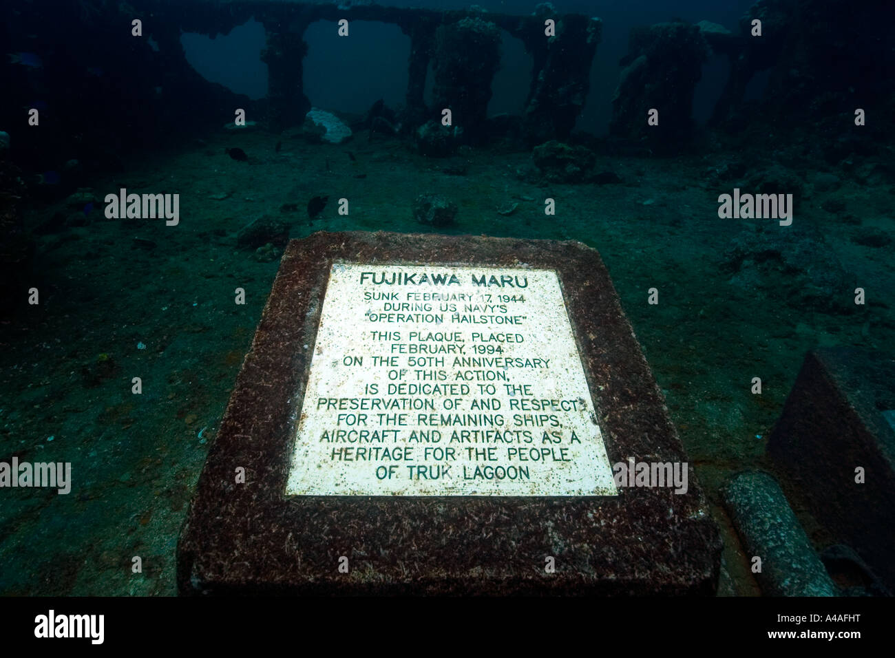 Memorial plaque on main deck fujikawa maru shipwreck truk lagoon chuuk federated states of micronesia pacific