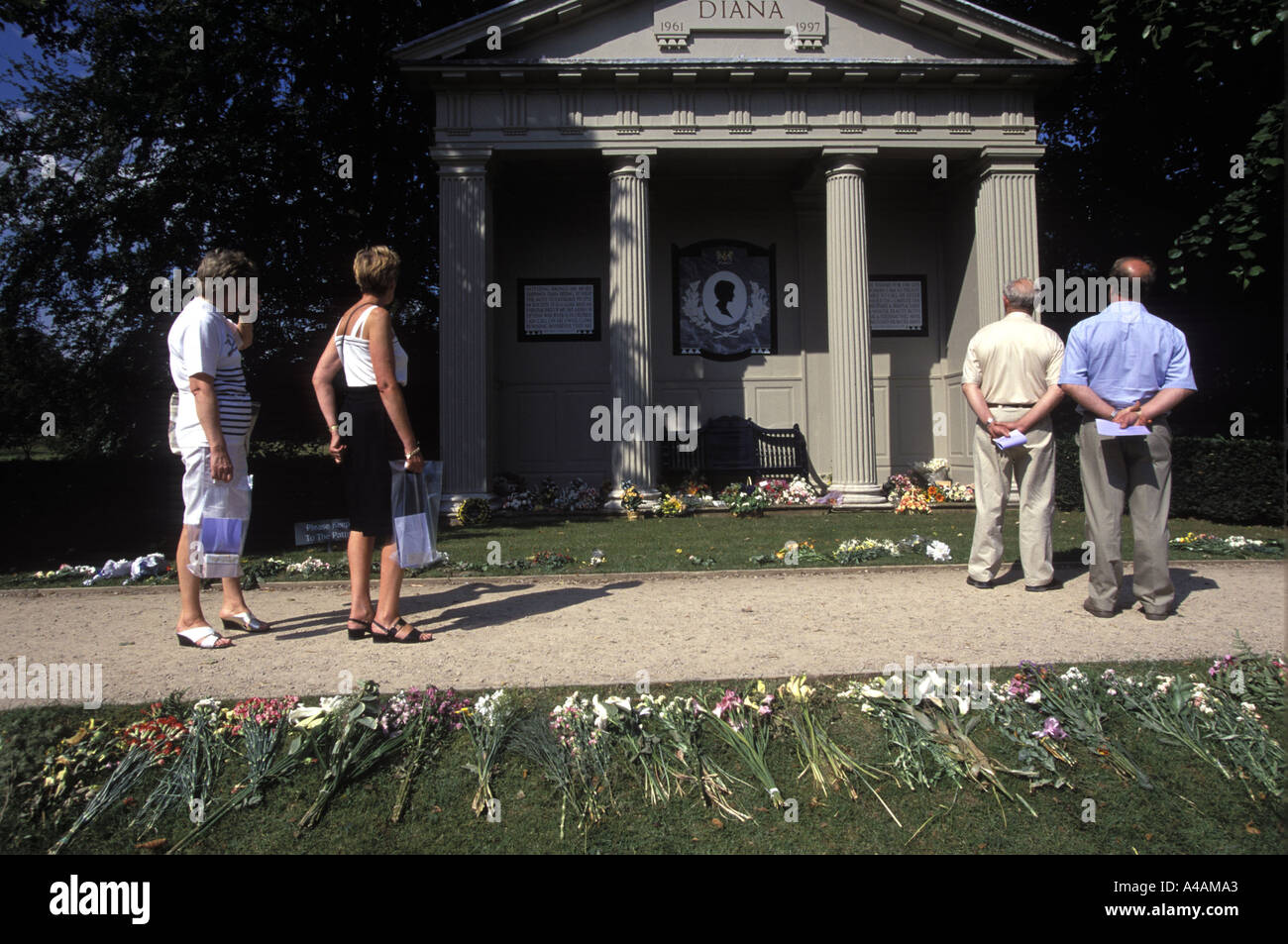 Visitors at shrine to Princess Diana on the Althorp Estate