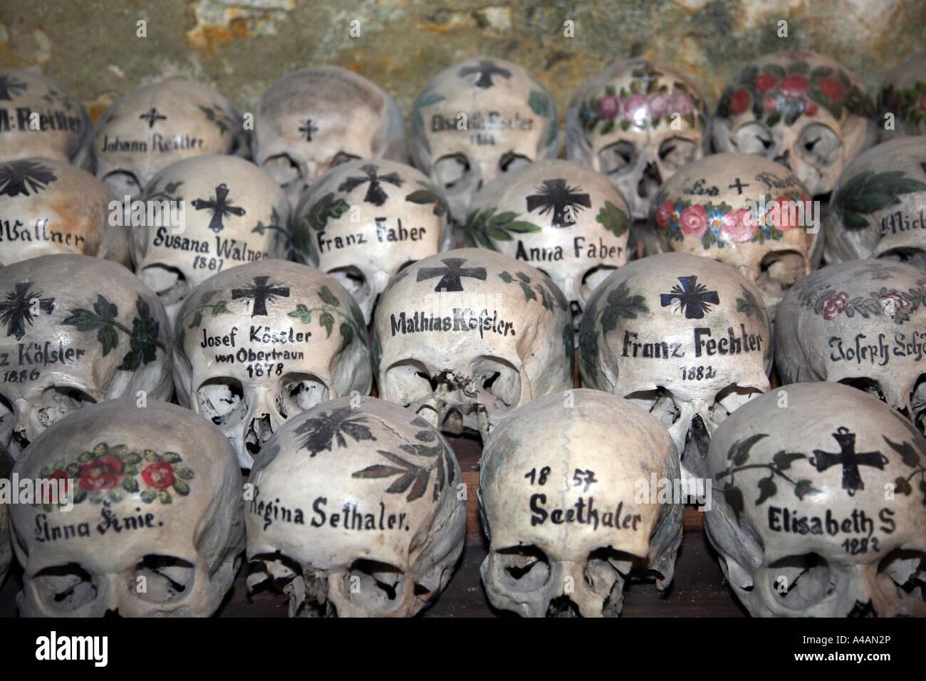 Austria Hallstadt; Ossuary; Cemetery ;Beinhaus In Chapel Machaeli Church  Charnel House Hallstadt Upper Austria;Salzkammergut
