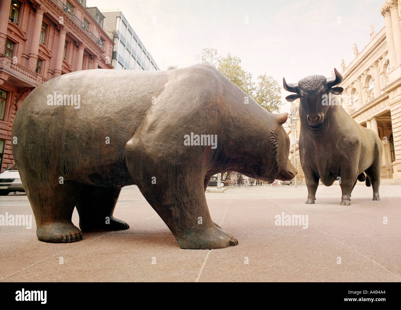 Bull And Bear Statue In Frankfurt Stock Photo Royalty