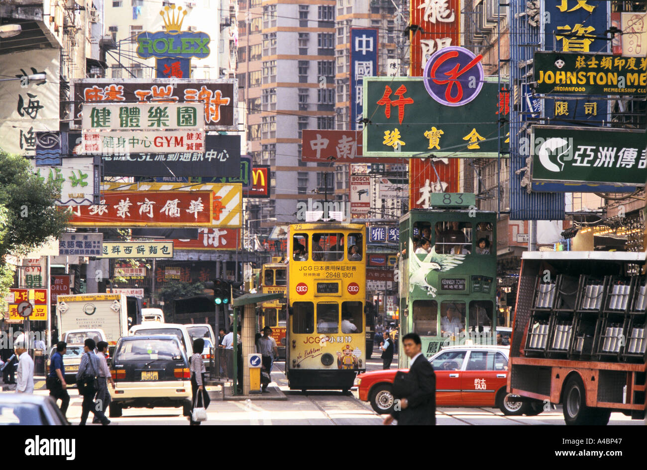 Hong Kong Streets Traffic Scene Stock Photo Royalty Free