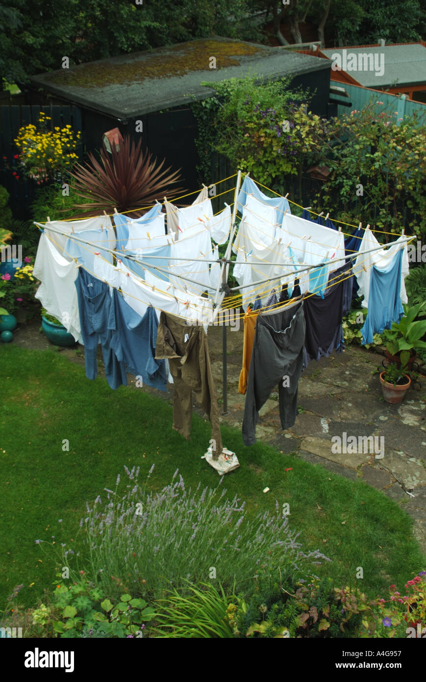washing hanging on revolving rotating rotary clothes line domestic