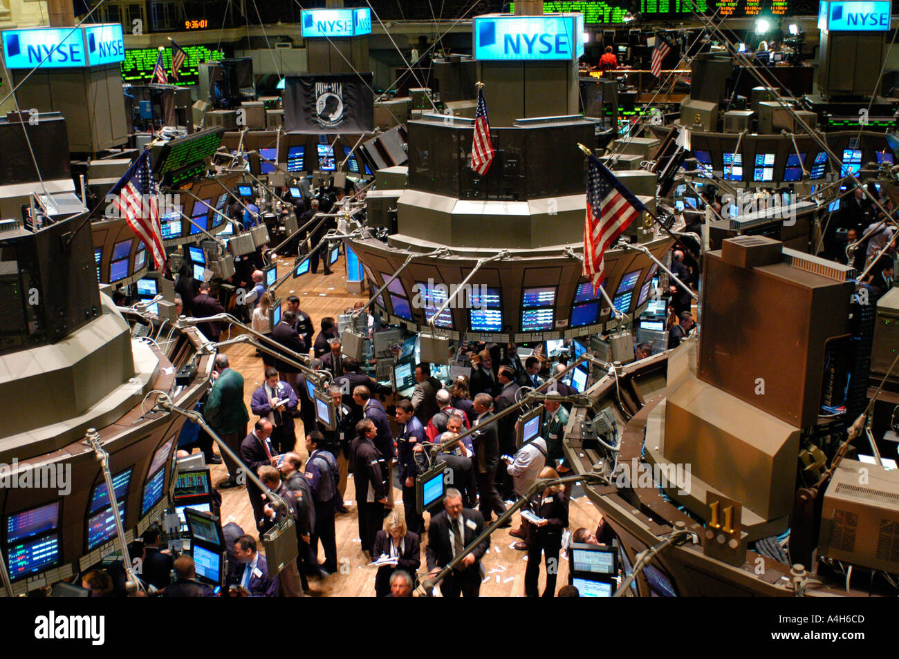 Stockbrokers Busy On The Trading Floor Of The New York