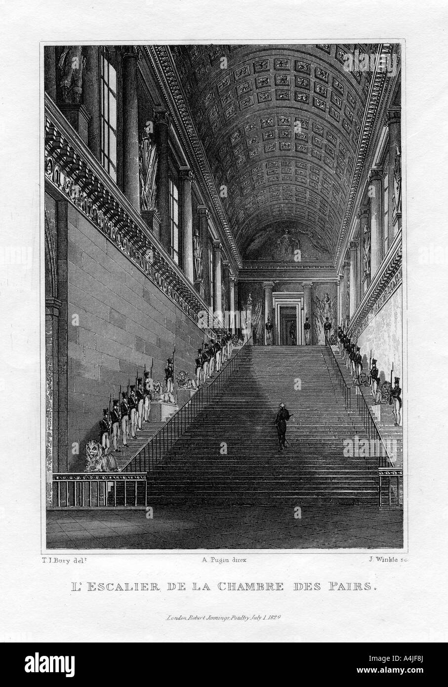 The staircase of the chambre des pairs paris france 1829 for Adresse chambre des notaires de paris