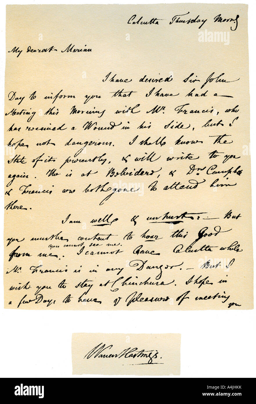 Letter From Warren Hastings Governor General Of Bengal To