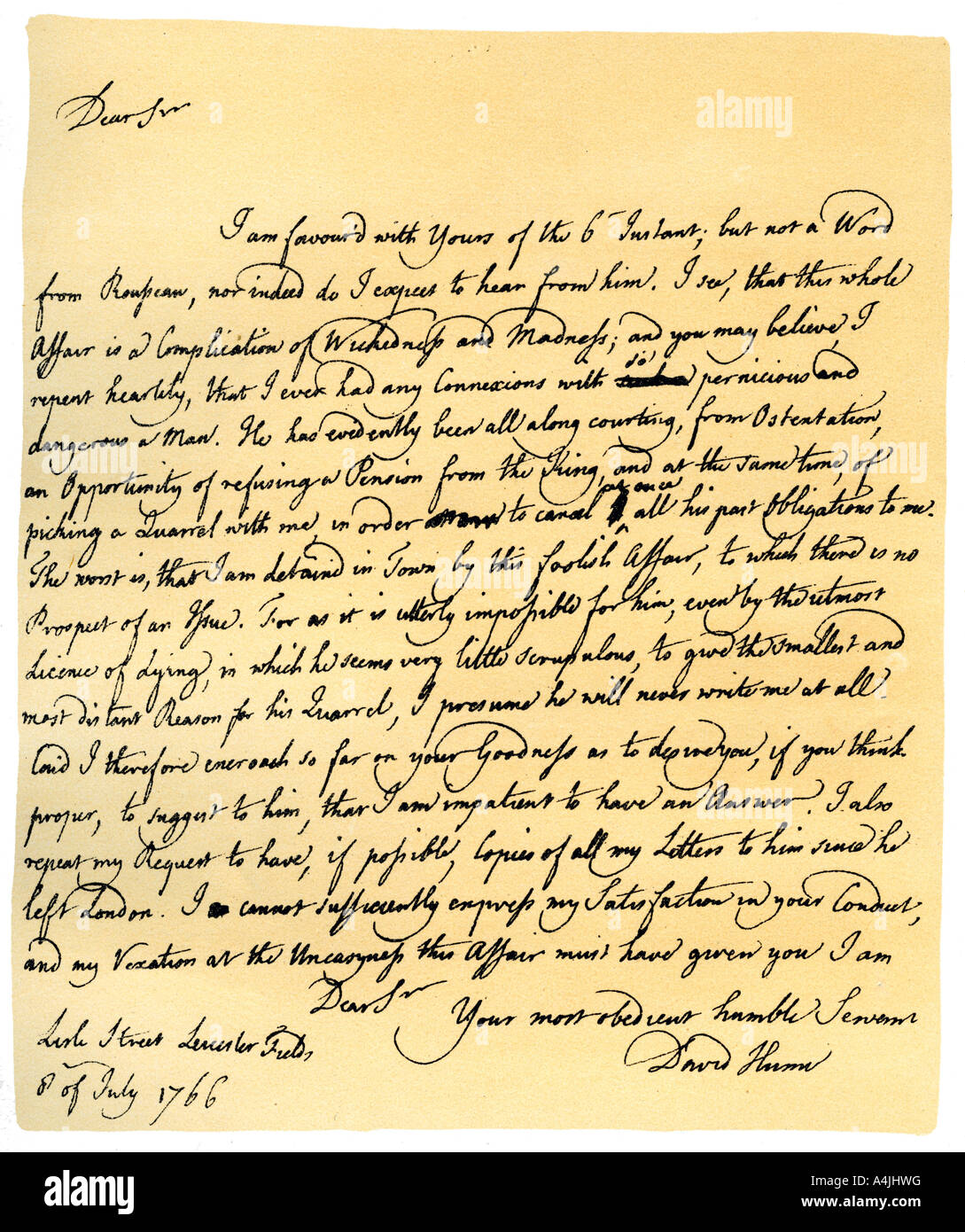 david hume stock photos david hume stock images alamy letter from david hume to richard davenport 8th 1766 stock image