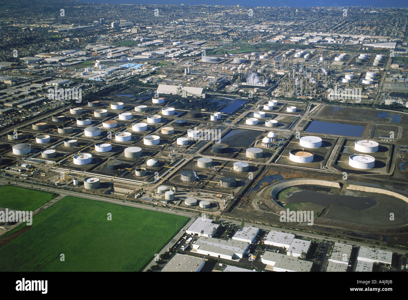 Aerial View Of Oil Refinery And Storage Tanks In Torrance, California