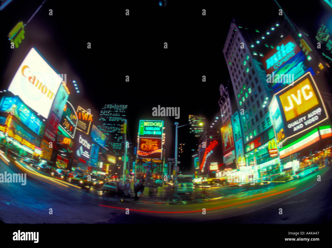 Fish eye view of times square in new york city on a rainy for Fishing in new york city