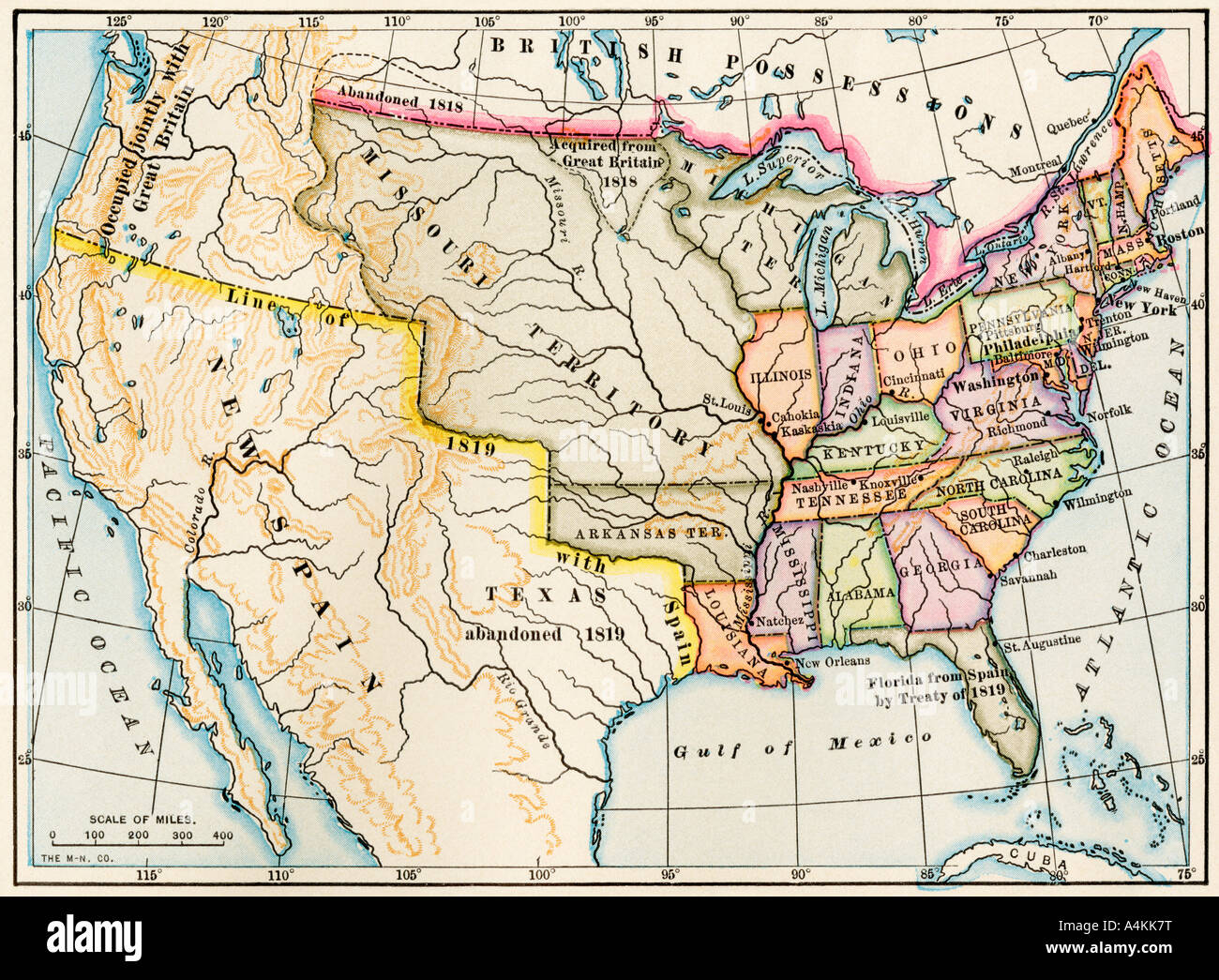 Map of the United States in 1819 showing territory under Spanish