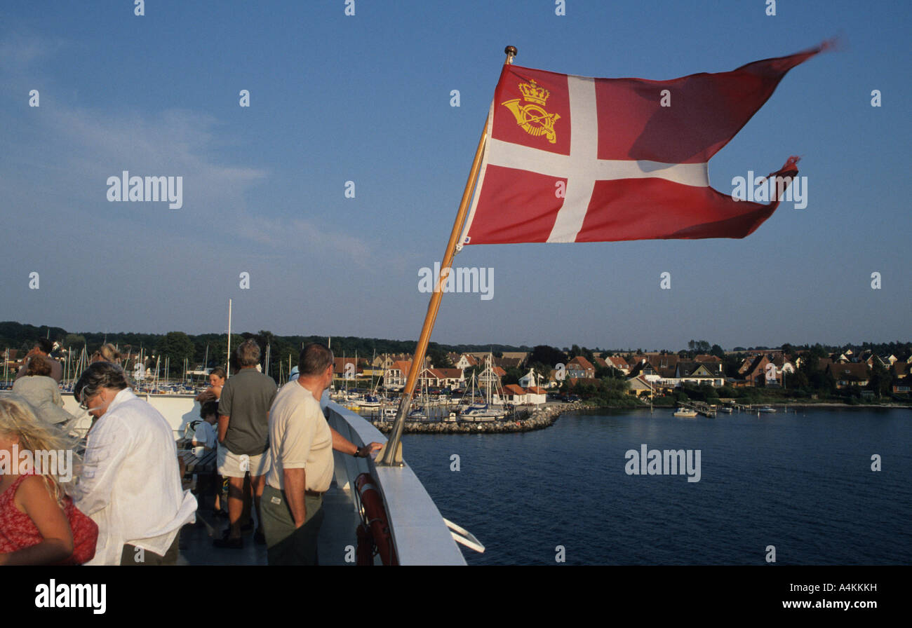 the danish flag ensign on a ferry from the island of r to