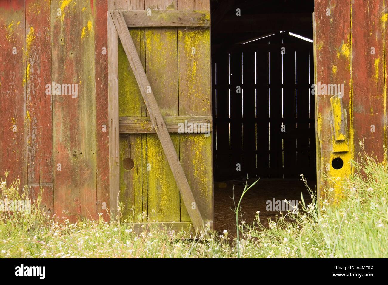 Open Barn Door closeup of a weathered old red barn with open door stock photo
