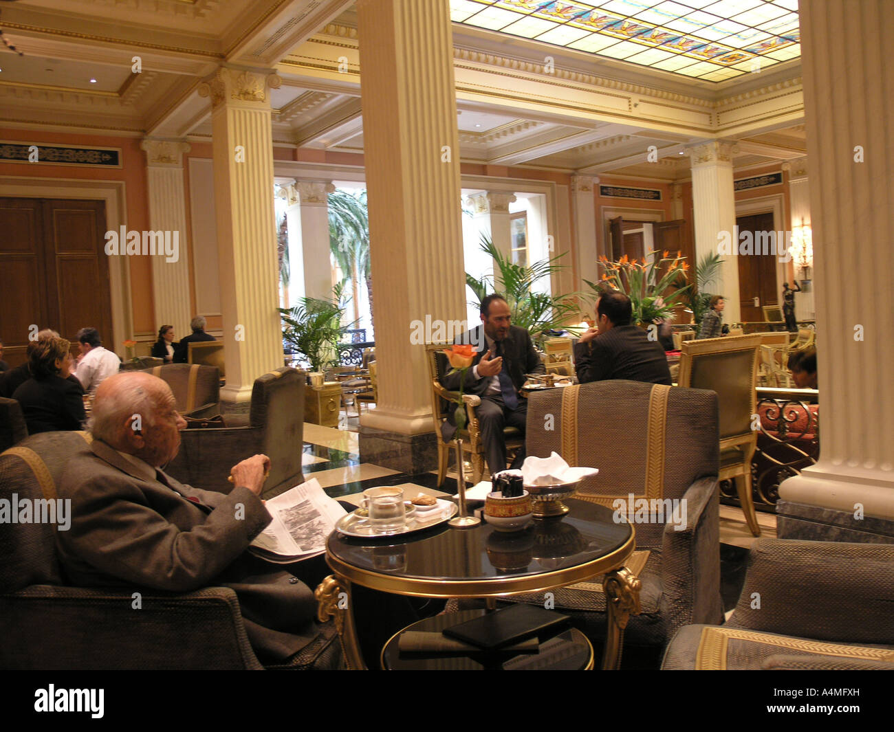 café wintergarden in hotel grande bretagne athens greece stock