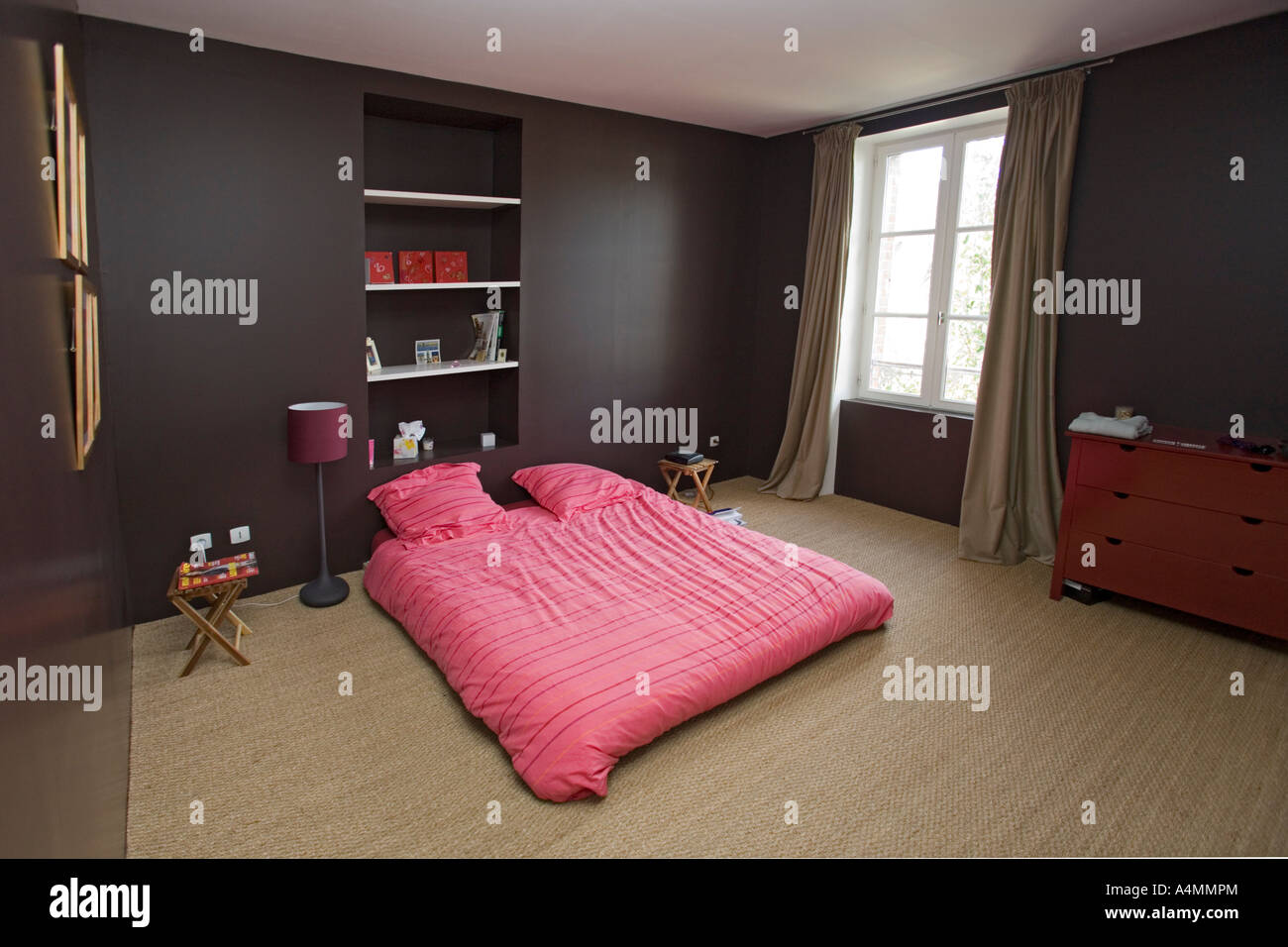A contemporary bedroom with minimalist decoration (france ...
