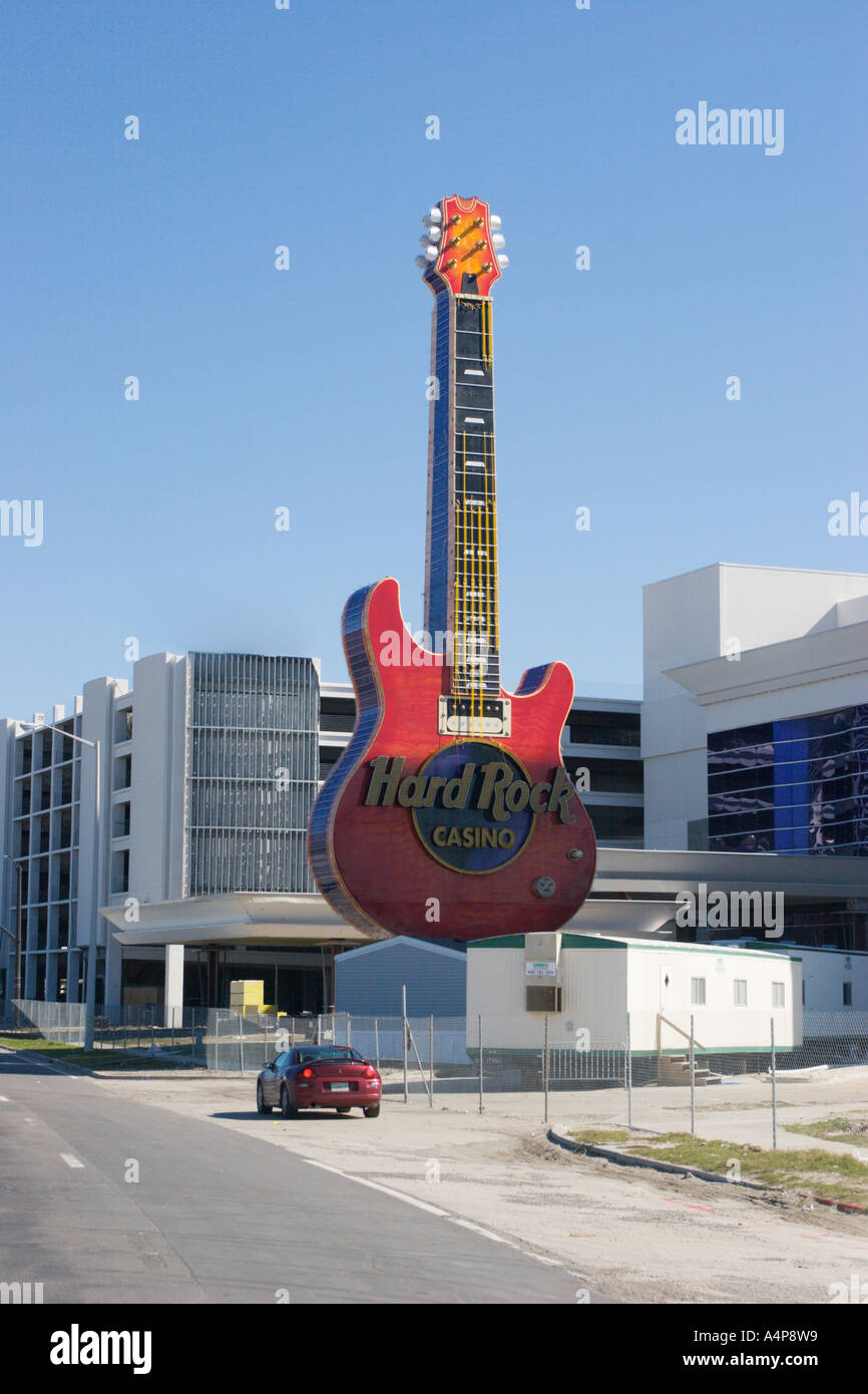 guitar shaped sign at hard rock casino survived hurricane katrina stock photo royalty free. Black Bedroom Furniture Sets. Home Design Ideas