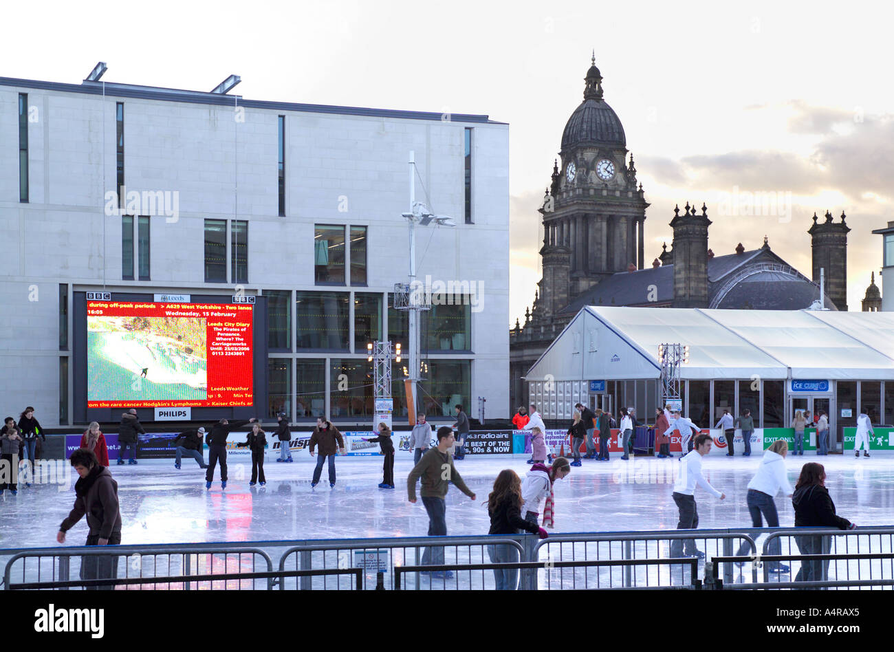 ice cube outdoor ice skating rink millennium square leeds stock