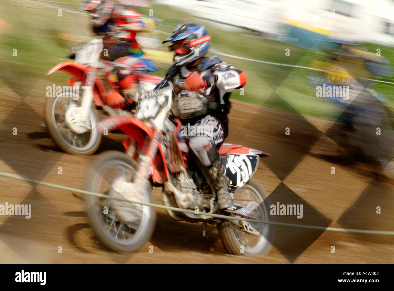 Chequered Flag Win Lose Risk Extreme Sport Motor Cross X Moto Dirt