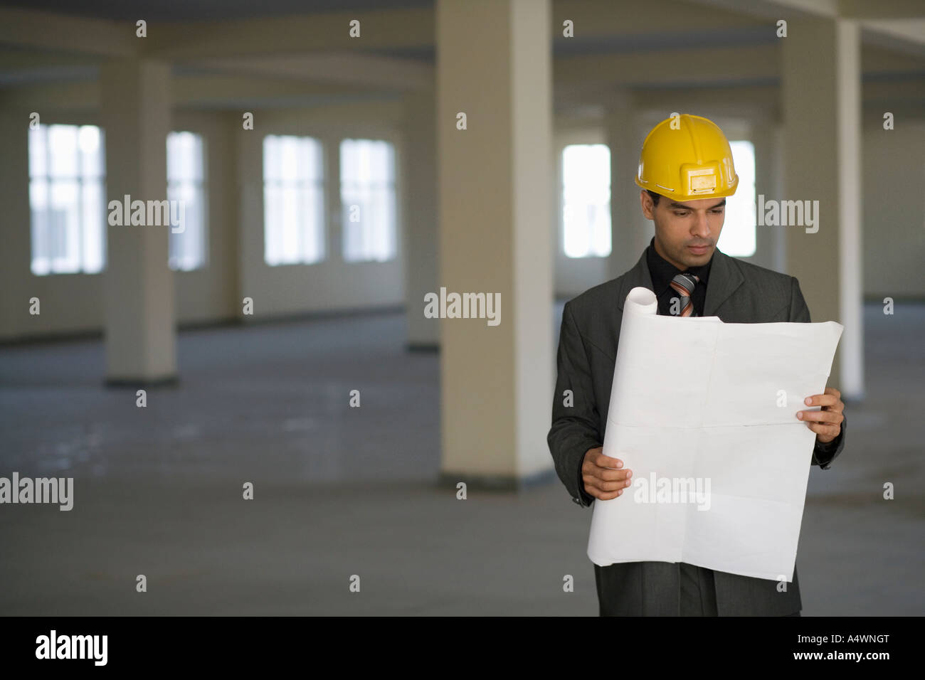 Businessman in hardhat reading blueprints stock photo 11130647 businessman in hardhat reading blueprints malvernweather Image collections