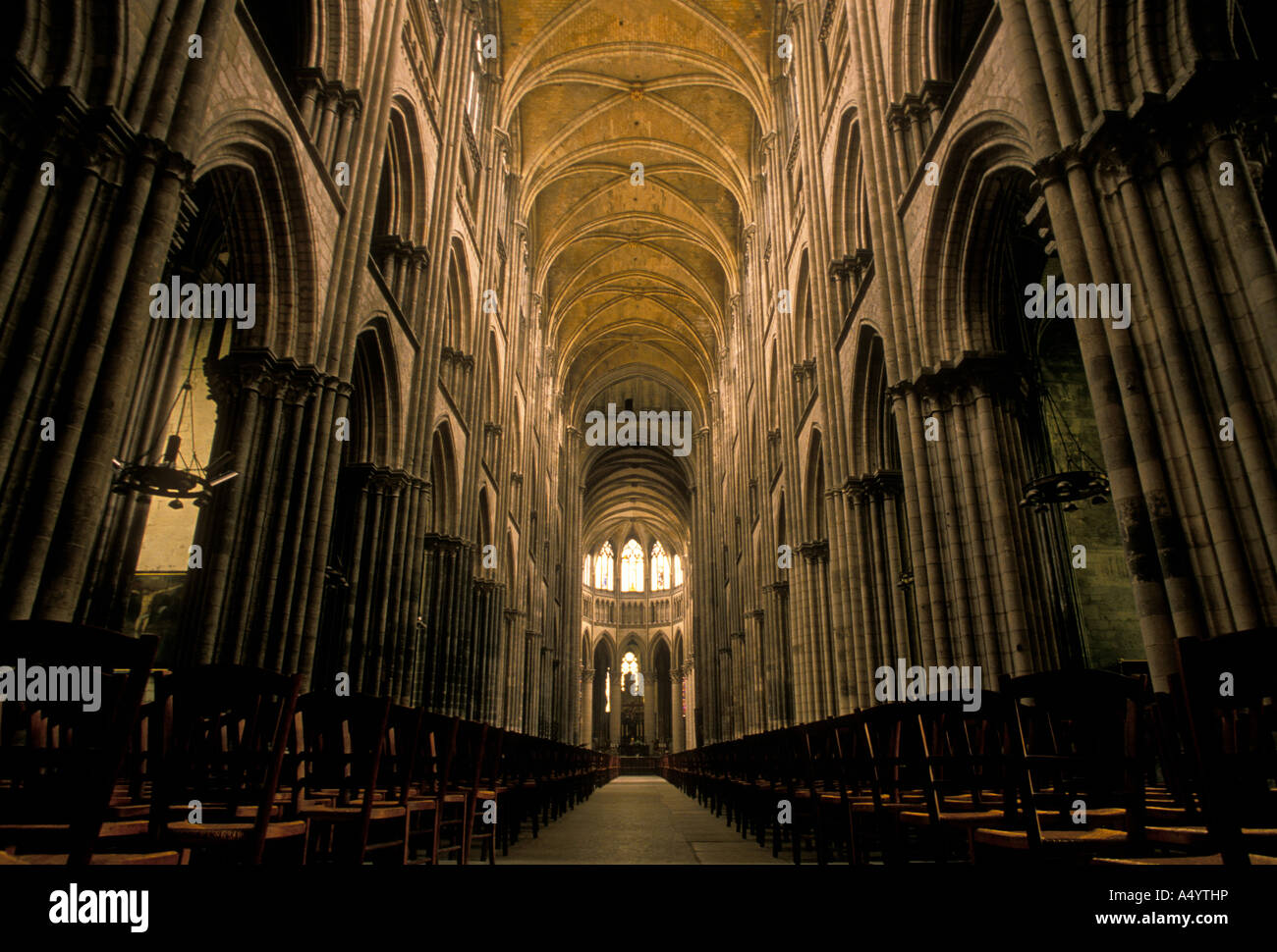Nave Notre Dame Cathedral French Gothic Architecture City Of Rouen Upper Normandy France Europe