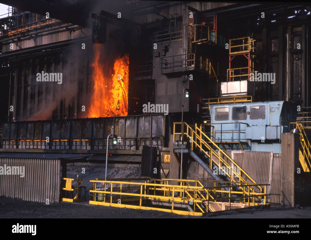 Coke Being Pushed From A Coke Oven And Caught In A Coke