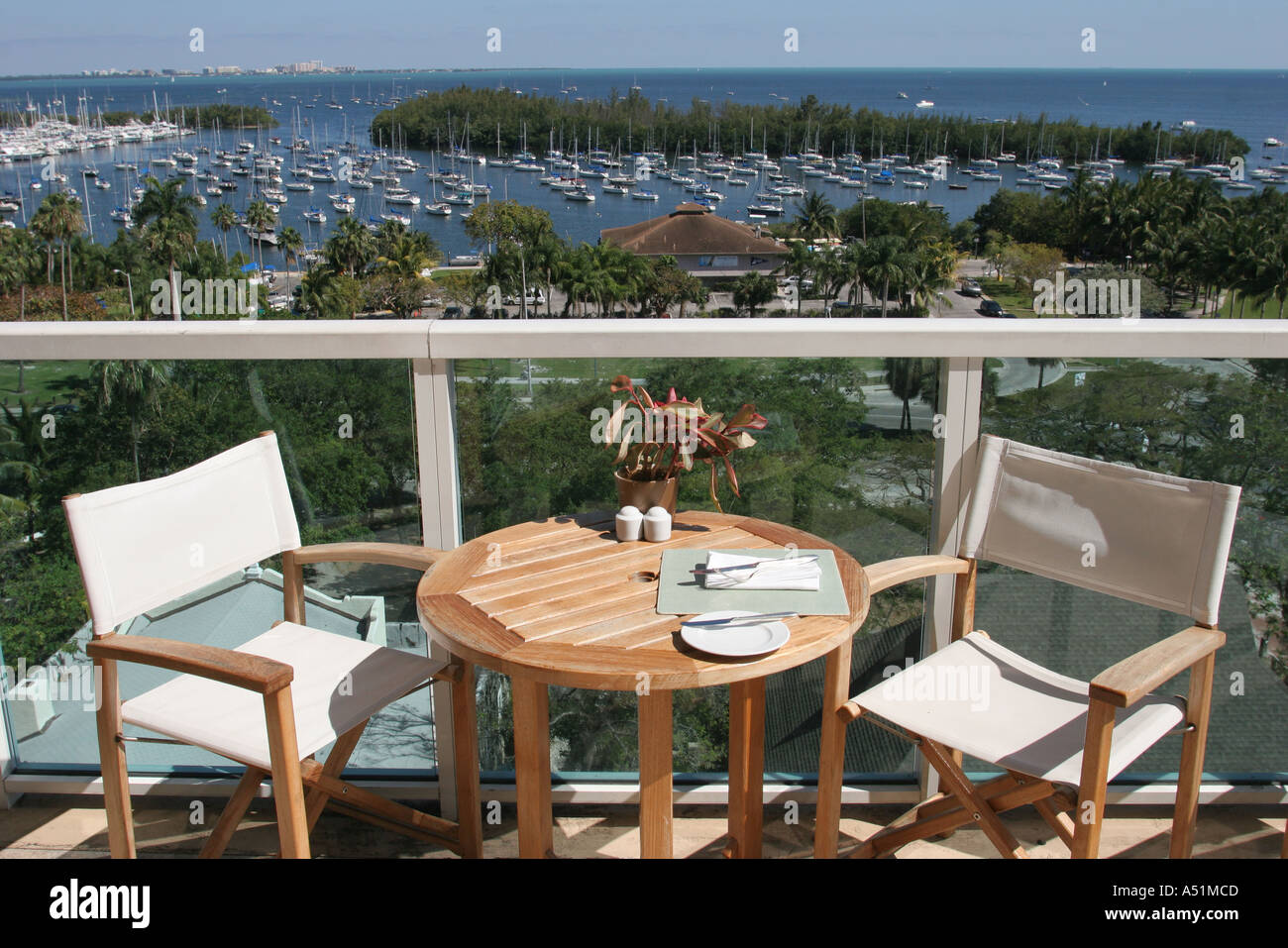 Restaurant table for two - Coconut Grove Florida Sonesta Hotel Panorama Restaurant Biscayne Bay View Table For Two