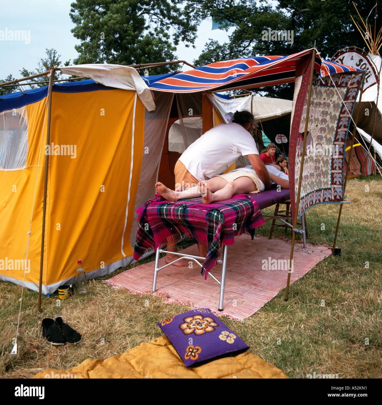 Massage Tent The Green Field Glastonbury Festival Pilton Somerset U.K. Europe - Stock Image & Massage Tent Stock Photos u0026 Massage Tent Stock Images - Alamy
