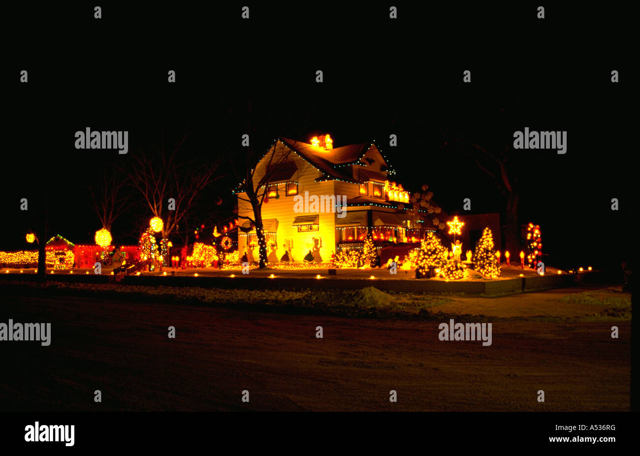 Exterior Of House Decorated With Christmas Lights Minneapolis Stock Photo Royalty Free Image