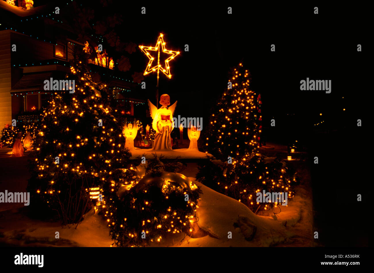 outdoor christmas lighted angels under star st paul minnesota usa