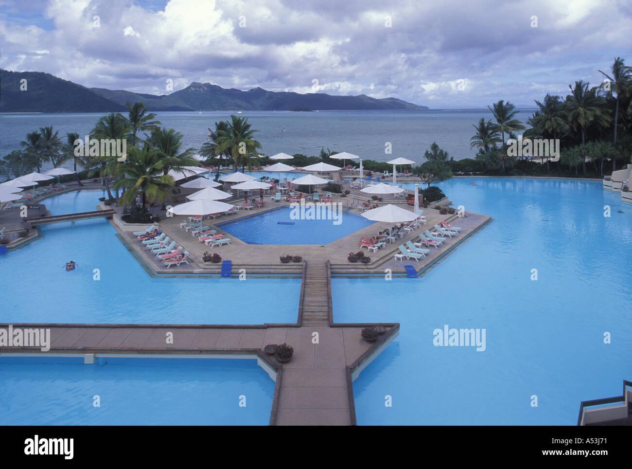 australia great barrier reef hotel pool overlooks ocean at