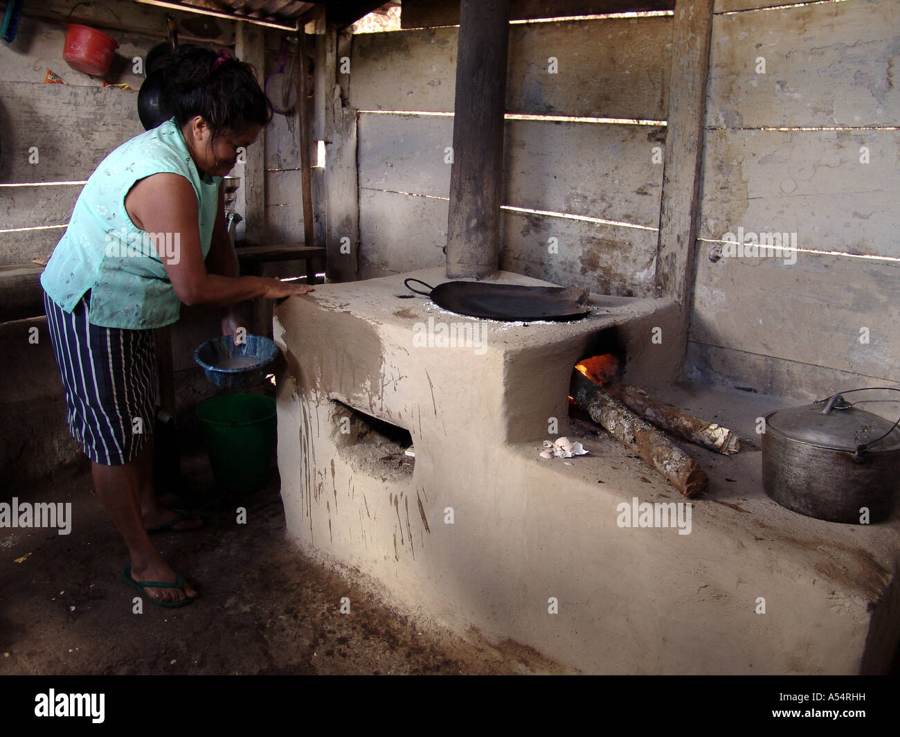 Painet ip1886 honduras woman cooking fuel efficient woodstove made mud  marcala country developing nation less economically - Painet Ip1886 Honduras Woman Cooking Fuel Efficient Woodstove Made