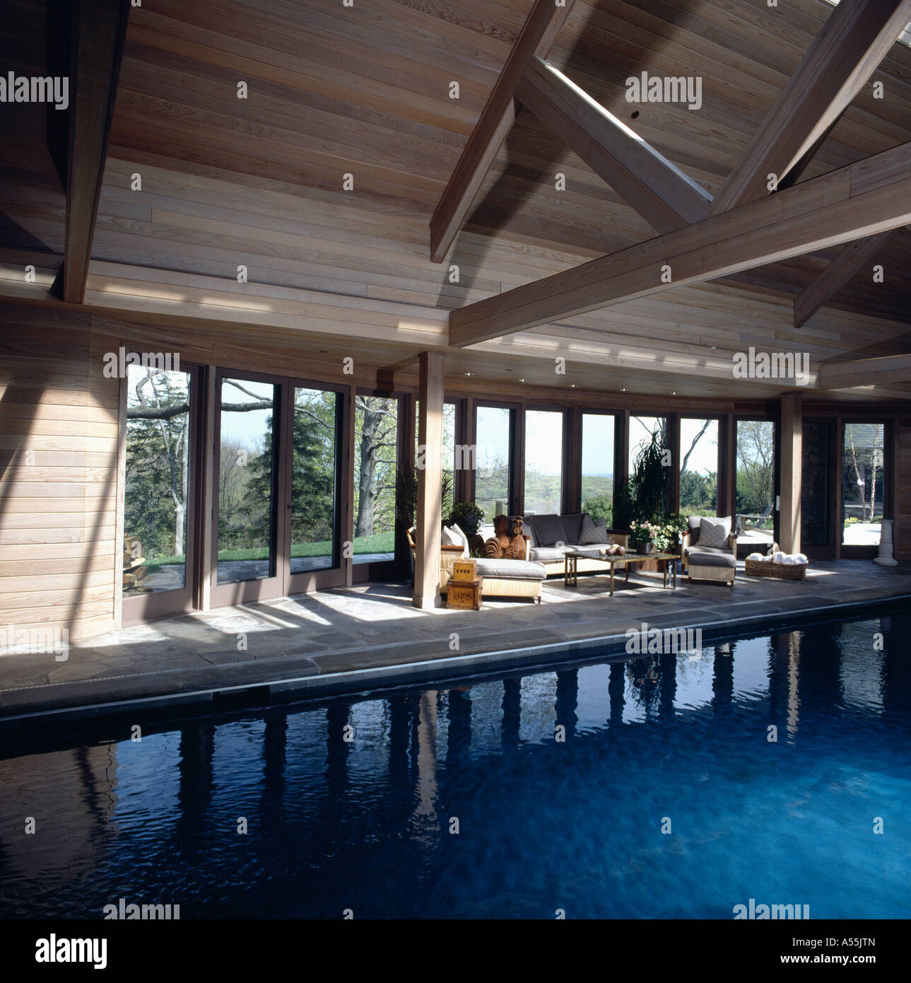 Large indoor swimming pool in country barn conversion with for Swimming pool conversion