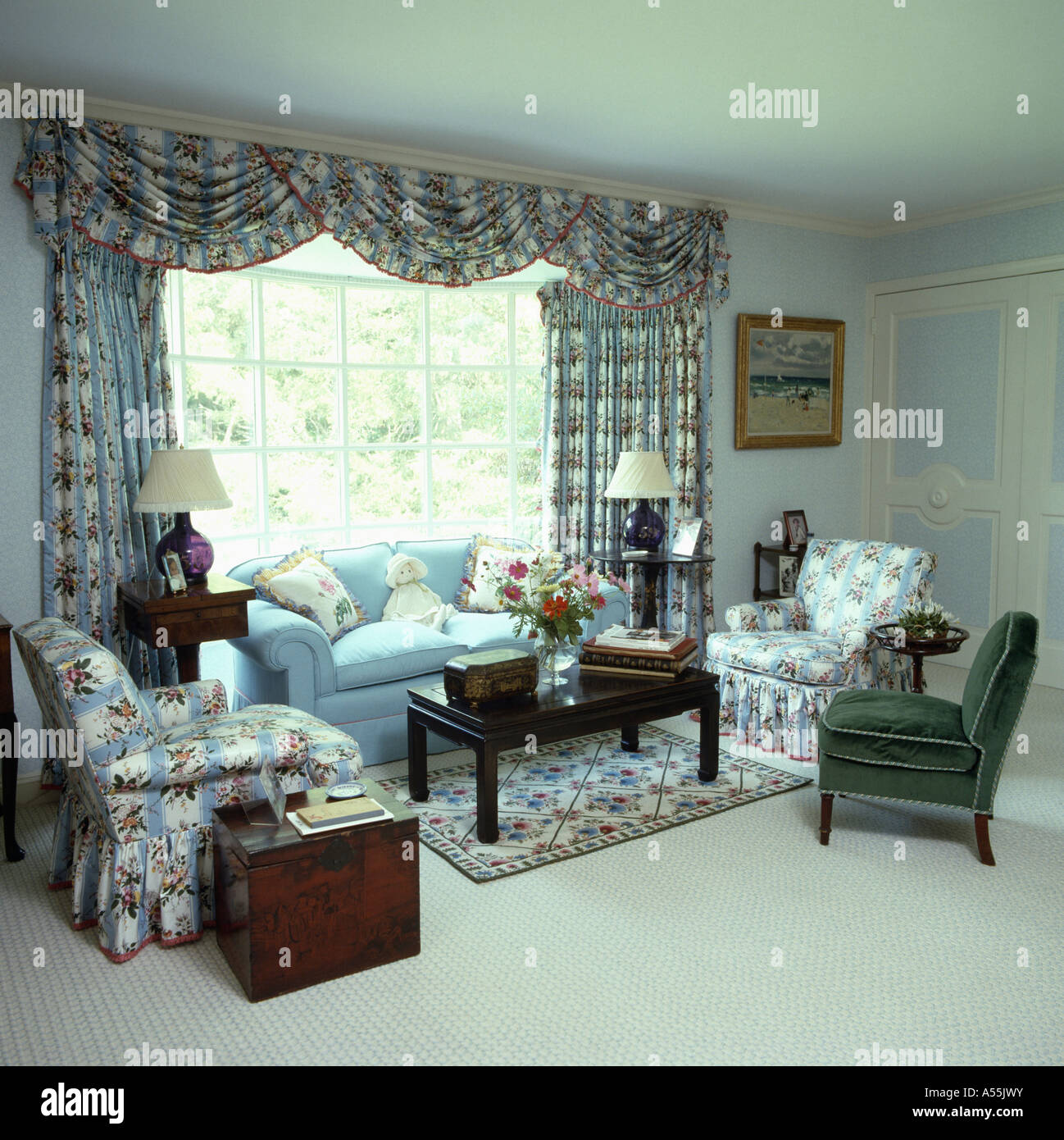 Blue, Pink And White Floral Patterned Drapes And Armchairs In Pale Blue Living  Room With Part 59