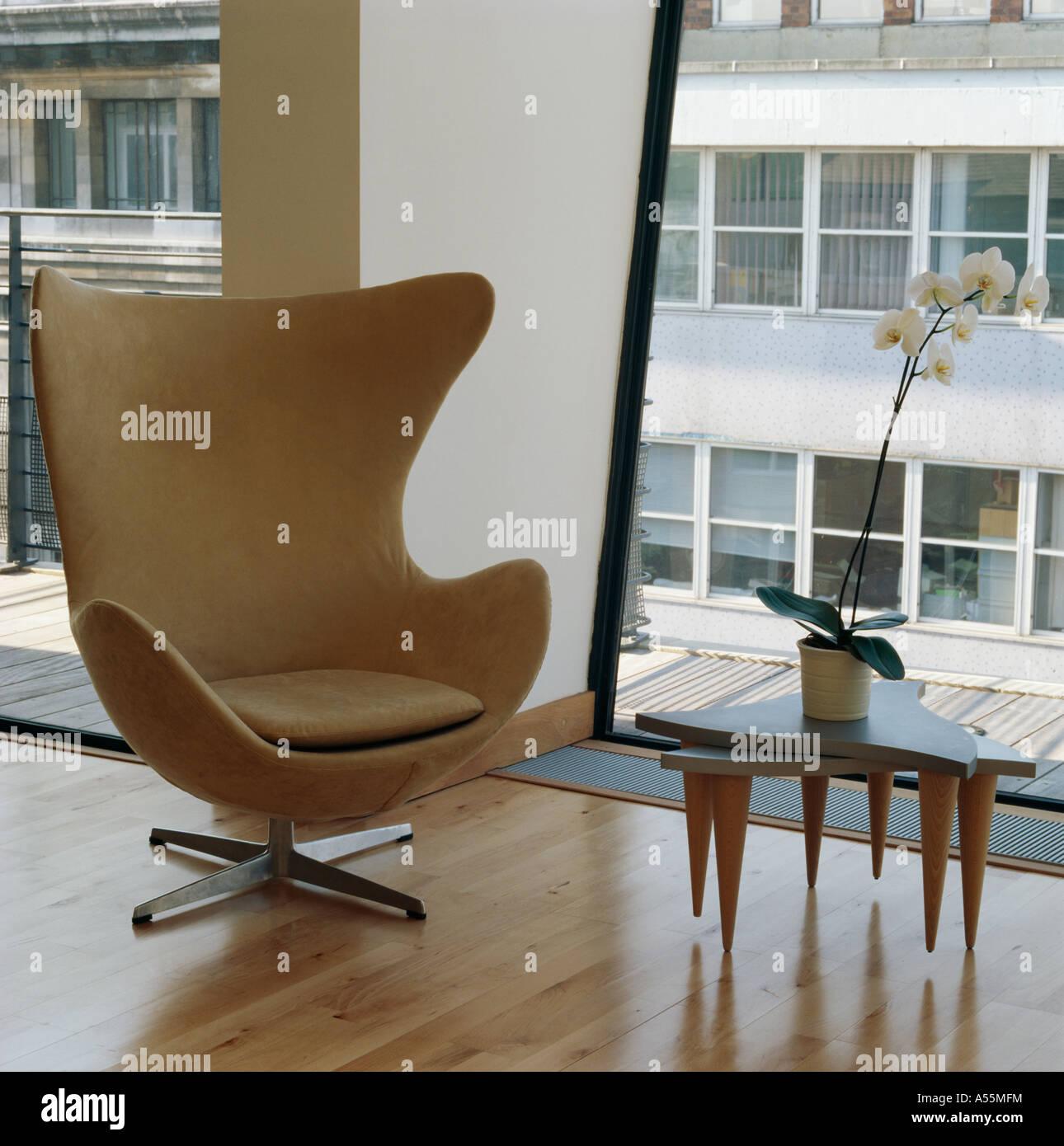 Classical Arne Jacobsen Egg chair in modern loft