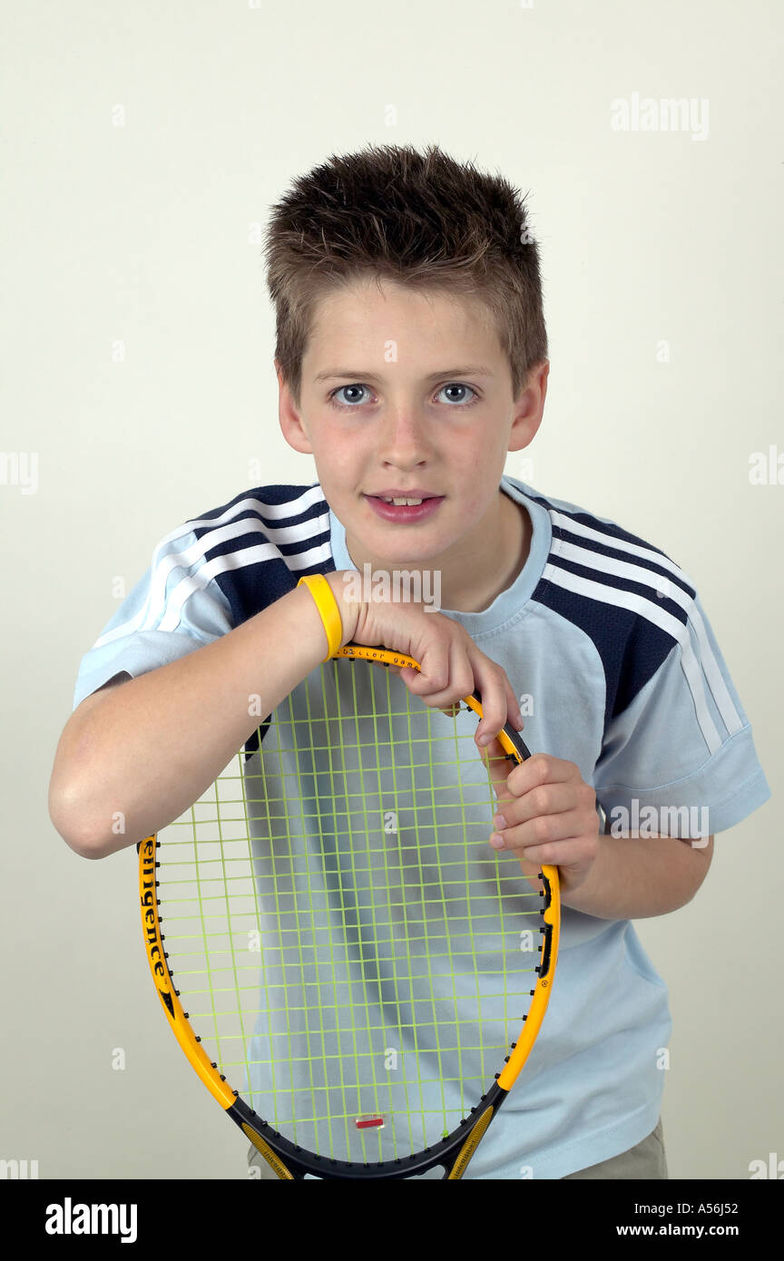 11 Year Old Boy Tennis Player England Stock Photo, Royalty