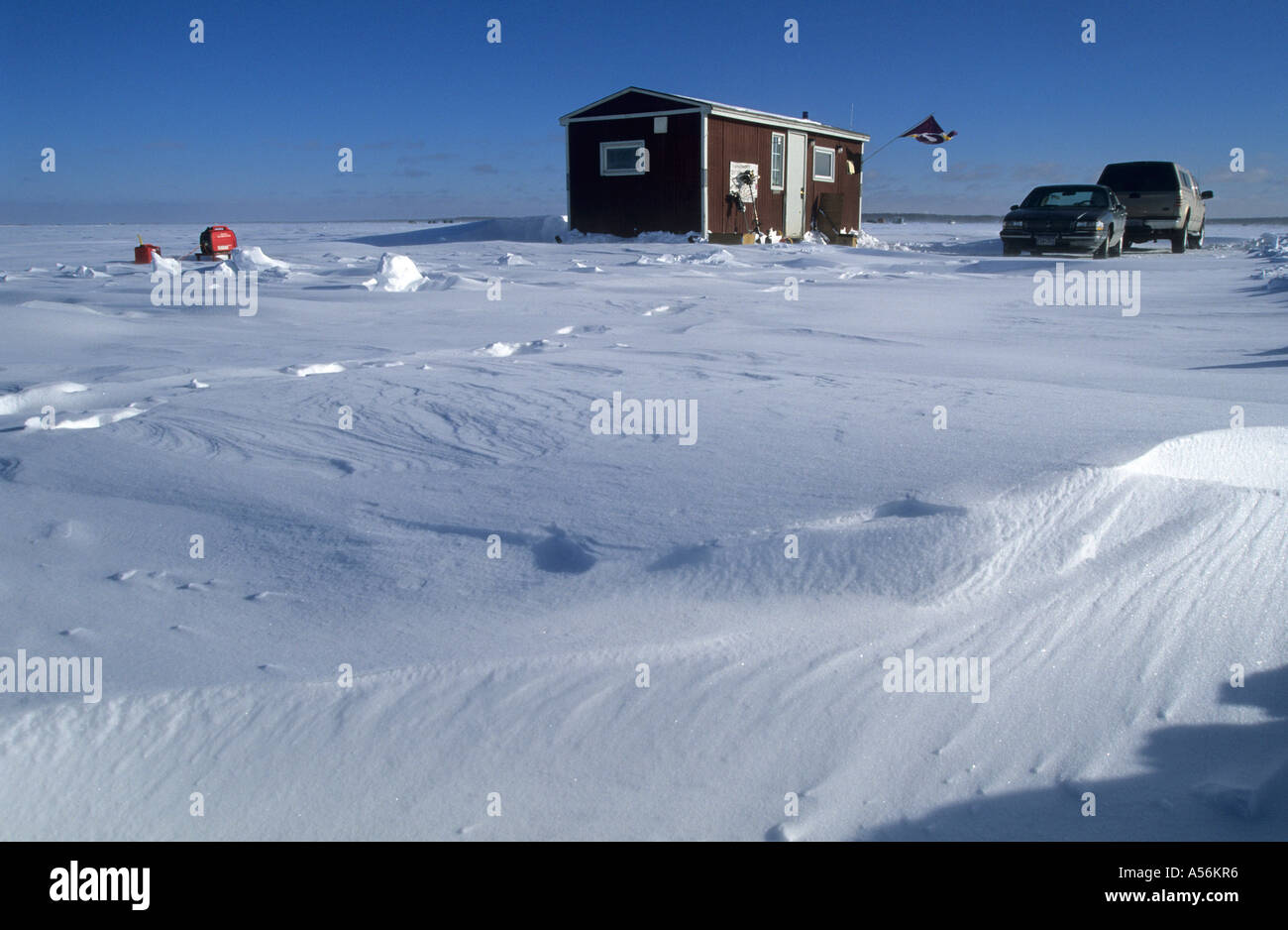 Ice fishing cabin mille lacs lake minnesota usa stock for Lake mille lacs ice fishing